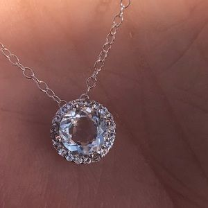 Jewelry - Round Aquamarine White Topaz Halo Necklace 18""